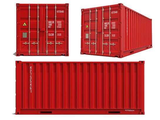 Red Container in Three Dimensions Isolated on White Background..jpeg